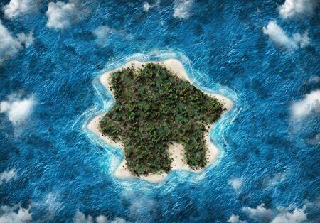 황금빛 해변과 흰 구름으로 푸른 바다가 둘러싸인 무성한 녹색 숲이있는 목가적 인 열대 섬의 창조적 배경 스톡 콘텐츠