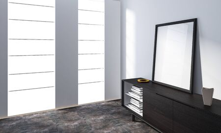 Bright spacious minimalist room with empty frame standing on cabinet