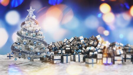 Traditional Christmas card with silver decorated Xmas tree next to a pile of wrapped gift boxes against multicolored blurred lights