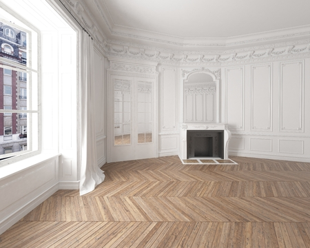 Interior of an empty elegant residential room with white walls, brown parquetry and a modern fireplace