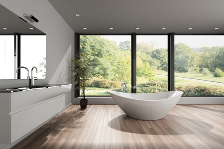Large spacious modern bathroom with a contemporary ceramic boat shaped bathtub and wooden parquet floor overlooking a park through view windows. 3d render