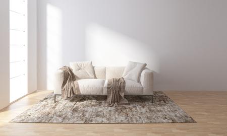 Sofa auf Teppich im hellen Raum mit großen Fenstern Standard-Bild