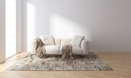Sofa on carpet in bright room with large windows