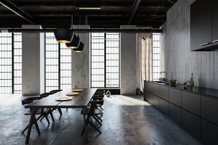 Wooden table with chairs in loft style cold kitchen
