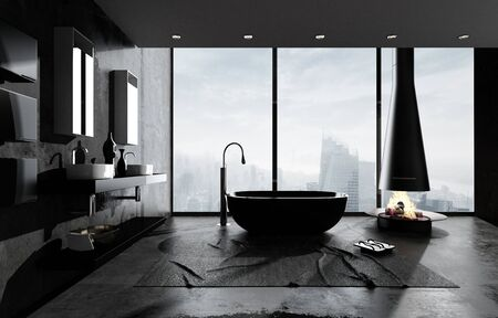 Bathtub in spacious modern minimalist bathroom with cityscape behind large windows