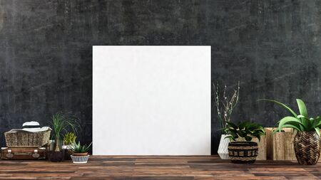 Blank white picture frame or canvas leaning against a dark wall on a wooden floor surrounded by leafy green plants and a sunhat on a wicker basket. 3d render