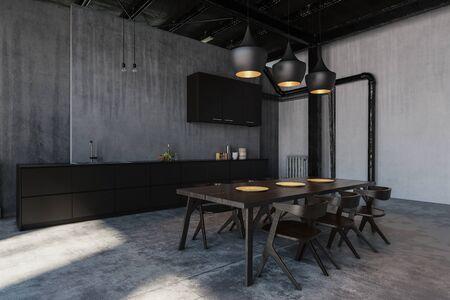 Furnished kitchen with dining room in loft style cold flat Lizenzfreie Bilder