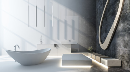 Modern luxury designer bathroom with grey decor and a freestanding oval boat shaped bathtub lit by incoming sunlight. 3d render