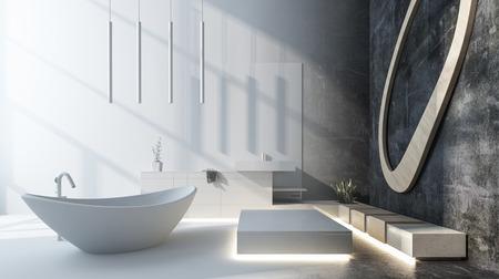 Modernes Luxus-Designer-Badezimmer mit grauem Dekor und einer freistehenden ovalen Boot-förmigen Badewanne, die durch einfallendes Sonnenlicht beleuchtet wird. 3d übertragen