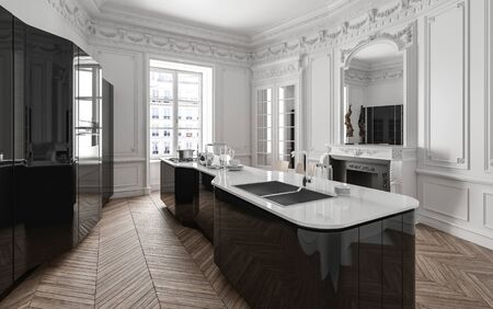 Stylish class black and white modern kitchen with fitted appliances and cabinets, centre island, wood panelling, chimney and bright window. 3d render
