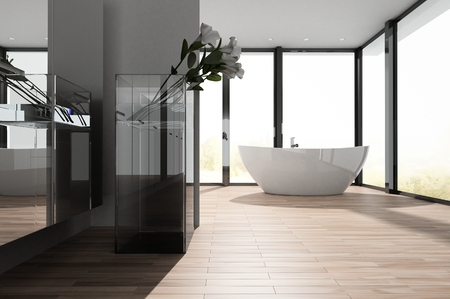 Large spacious modern bathroom with a freestanding oval bathtub in front of wrap around view windows and a wooden floor. 3d render