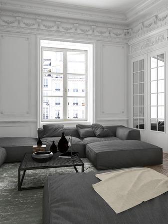 Gemütliche Wohnung Wohnzimmerinnenecke mit grauem Polstersofa, einem Spiegel, hellem Fenster und klassischen Deckenleisten. 3d übertragen