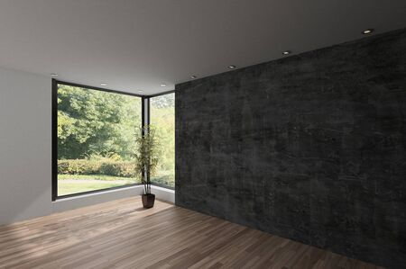 Spacious empty room with textured grey wall, hardwood floor and large view window overlooking an extensive park with trees. 3d render