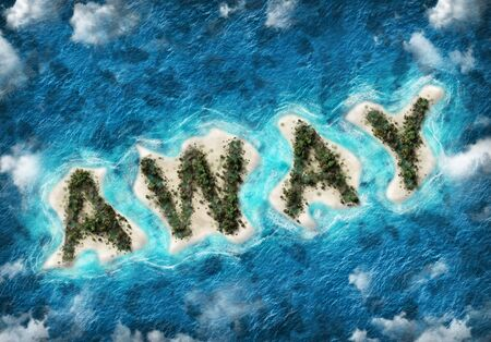 Summer vacation concept with tropical islands in the shape of the letters AWAY with green vegetation, golden beaches and textured blue ocean viewed from above with copy space