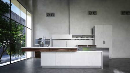 Fitted kitchenette with appliances and island in a commercial loft conversion with large view windows and double volume height walls. 3d render