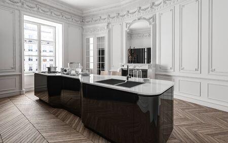 Clean bright stylish kitchen with wooden floor in modern flat Lizenzfreie Bilder