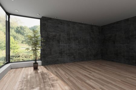 Spacious empty room with textured grey wall, wooden floor and a large view window overlooking a wooded park or garden. 3d render