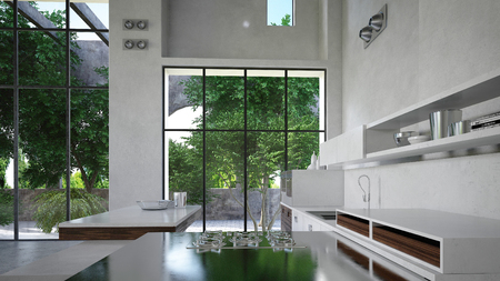 Spacious modern white luxury kitchen interior with fitted appliances and cabinets and a dining area overlooking large windows with a view of a green garden. 3d render