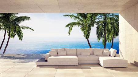 Spacious living room in a tropical villa overlooking the ocean and palm trees in a panoramic view. 3d render