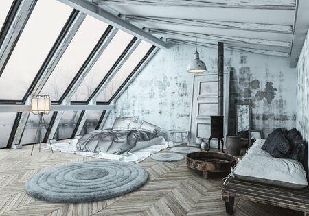 아늑한 스칸디나비아 스타일의 침실로 목재 지붕 버너가 설치되어 있습니다. 3 차원 렌더링