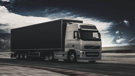Lastkraftwagen, der entlang eine Landstraße an einem schwermütigen bewölkten Tag mit drohenden Wolken in einem atmosphärischen Bild fährt. 3D-Rendering.