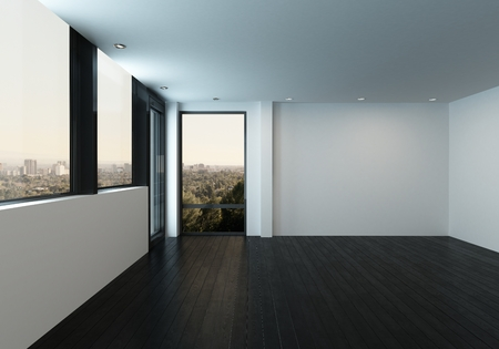 Blank white walls with large windows in empty unfurnished room. 3d Rendering.