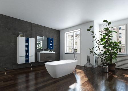 Luxuriöses modernes helles Badezimmer mit Badewanne und Zimmerpflanze. 3D-Rendering.