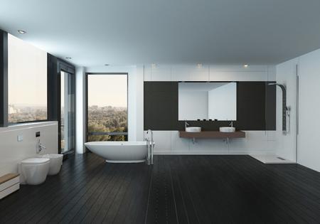 Modernes geräumiges Schwarzweiss-Badezimmer Interieur mit einem minimalistischen Design und modernen Bidets, freistehende Badewanne und Wand-Vanity. 3D-Rendering. Standard-Bild