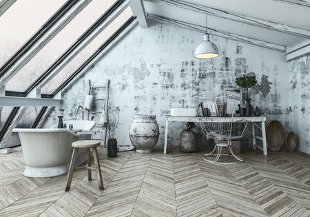 Moderner skandinavischer Badezimmerinnenraum mit einer eklektischen Ansammlung der Sammlerstücke und des Fischgrätenholzfußbodens in einem umgebauten Dachboden. 3D-Rendering Standard-Bild