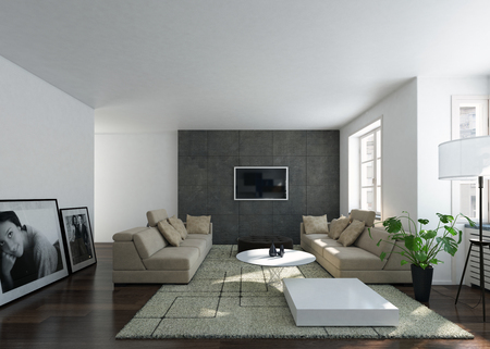 The modular interior and living room of a brightly lit modern home. Standard-Bild
