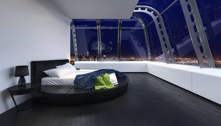 Bed in modern luxury bedroom with wide window and view of city Standard-Bild