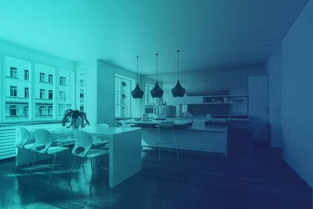 The interior of a modern contemporary open plan home in retro blue lighting.