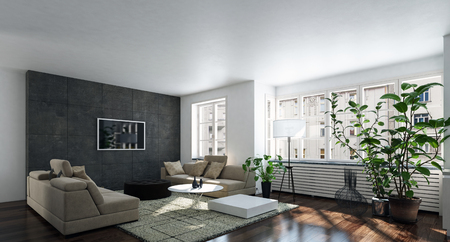 Spacious bright living room with wide window and houseplant