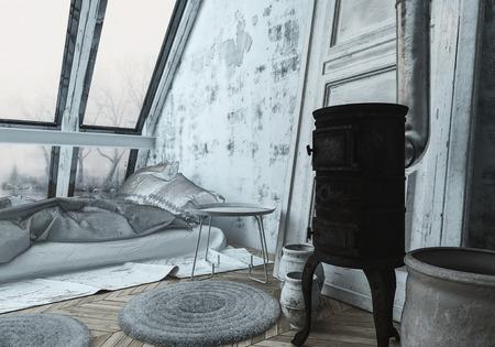 Gemütliches Schlafzimmer im skandinavischen Stil mit einem Holzofen zum Heizen in einem ausgebauten Dachboden oder Loft mit großen schrägen Fenstern. 3D-Rendering