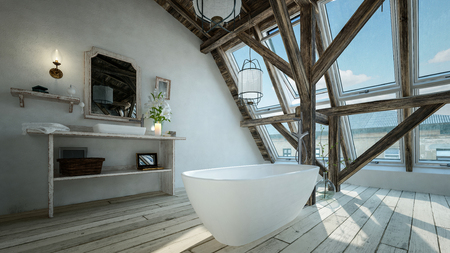 Modern minimalist bathroom in a loft conversion with freestanding oval bathtub in front of structural feature beams and a large view window. 3d render 스톡 콘텐츠