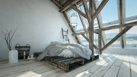 Trendy hipster modern loft conversion bedroom with messy pallet bed, large windows, wood floor and structural beams with minimalist decor. 3d render