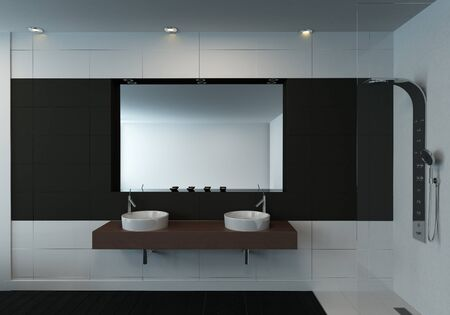 Modern minimalist black and white bathroom interior with a double wall mounted vanity and mirror. 3d Rendering.