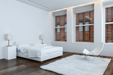 The interior of a bright, modern contemporary apartment bedroom with white furnishings and bright windows. 3d Rendering.