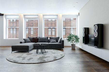 Geräumiges sauberes, helles Wohnzimmer mit Sofa und Stereoanlage