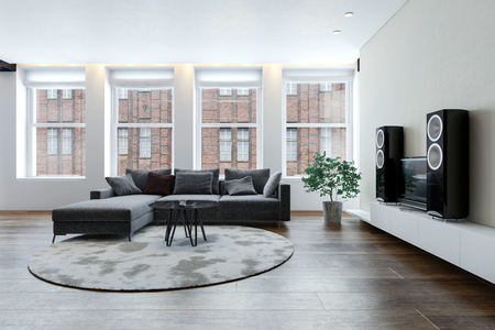 Spacious clean bright living room with sofa and hi-fi stereo system