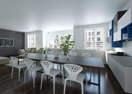 Moderner geräumiger heller Raum mit langem Tisch und Houseplant