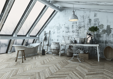 Three dimensional rendering of modern style room with herringbone type flooring and dirty wall behind wooden table near various pots and chair. 3d Rendering. Stock Photo