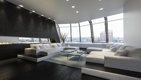 Ein luxuriöses und modernes Penthouse-Wohnzimmer mit großen Sofas und herrlichem Blick auf die Stadt. 3D-Rendering. Standard-Bild
