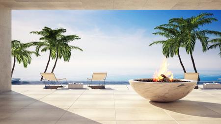 Brennende Flammenfunktion auf einer Terrasse im Freien mit Blick auf den Ozean in einer tropischen Villa mit Liegestühlen und Palmen. 3d übertragen