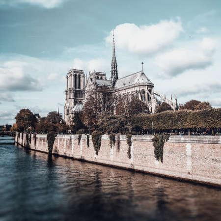 River Seine against Notre-Dame Cathedral, Paris, France