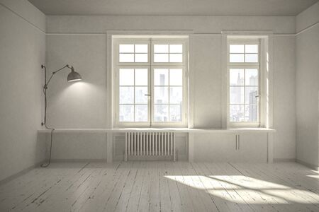 Fresh empty neutral light colored room in Scandinavian style with painted floorboards and radiator and sun streaming in through two large windows. 3d rendering Standard-Bild