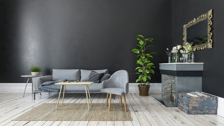 Monochromatic grey and white decor in a living room interior with sofa and armchairs, potted plant fireplace and wall mirror in a simple elegant design, 3d rendering