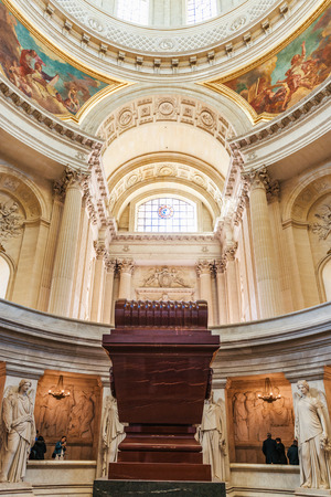 PARIS, FRANCE - November 2017: The tomb of Napoleon Bonaparte inside the Cathedral Les Invalides Editorial