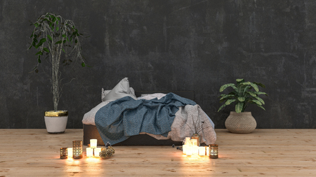 Rumpled unmade bed in a cozy romantic bedroom with glowing candles on a wooden floor and two large potted plants in a wide angle view 3d rendered illustration
