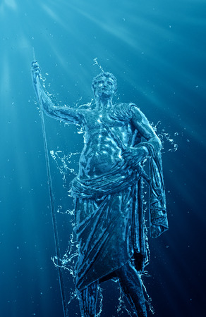 Underwater classical statue of a man in robes holding a staff with splash and bubble effect and sun rays passing through the water